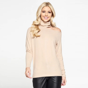 Cold Shoulder Turtleneck Top Taupe