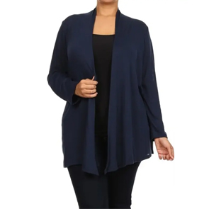 Essential Plus Size Knit Cardigan Navy